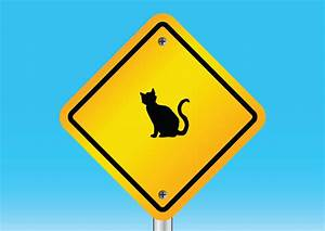 Cat warning sign - free vector download