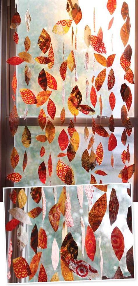 Herbst Fenster Dekoration by Herbst Basteln Fensterdeko Girlanden Geschenkpapier