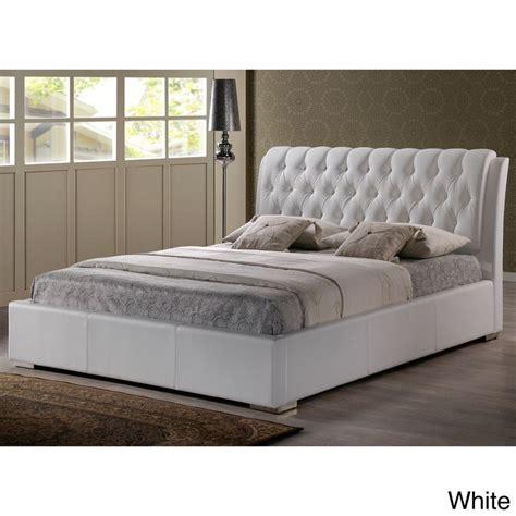 baxton studio bianca white modern bed  tufted