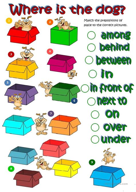 wheres  dog prepositions  place worksheet