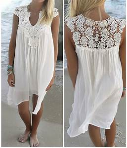 Robe Boheme Courte : robe plage courte avec dentelle boho boheme chic ~ Melissatoandfro.com Idées de Décoration