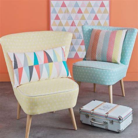 fauteuil vintage 224 motifs en coton jaune maisons du