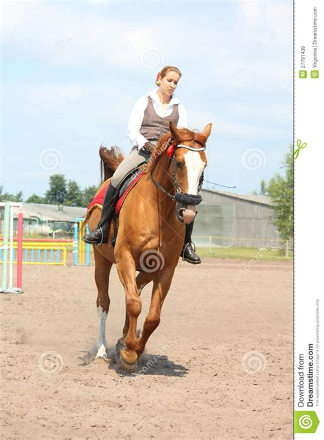 Beautiful Young Blonde Woman Riding Chestnut Horse Royalty ...
