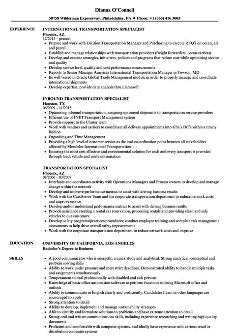 transportation specialist resume samples velvet jobs