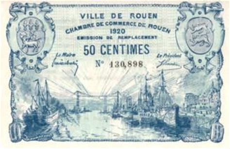 chambre commerce rouen rouen 1920 billet de nécessité de la chambre de commerce