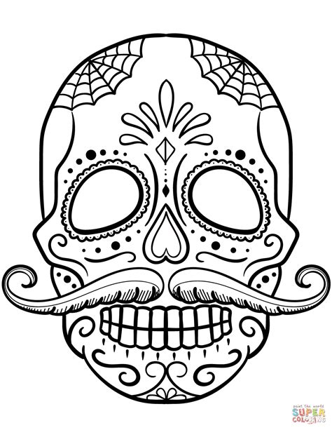 Sugar Skull With Mustache Coloring Page Free Printable