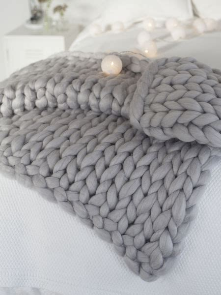 how to knit chunky blanket super chunky knit blanket light grey