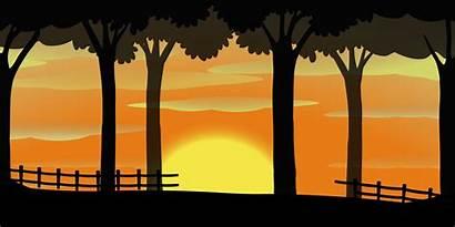 Silhouette Farm Vector Sunset Scene Sky Orange