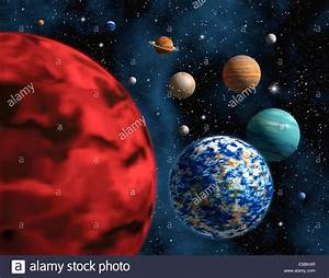Illustration of a group of generic, not real, planets in ...