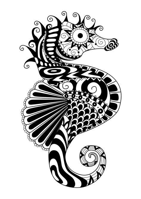 zentangle sea horse water worlds adult coloring pages