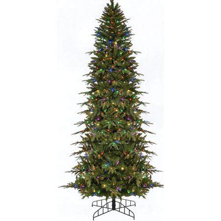 pre lit multi color led slim christmas tree 7 5 pre lit slim palisade artificial tree multi led lights walmart