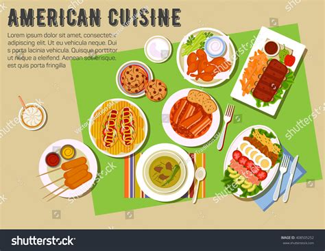 cuisine us cuisine menu grilled ribs chicken stock vector