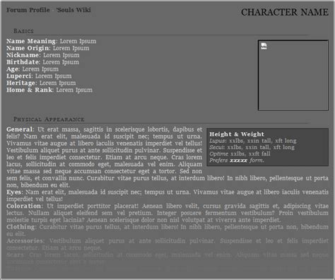 rp templates free free character sheet templates forum