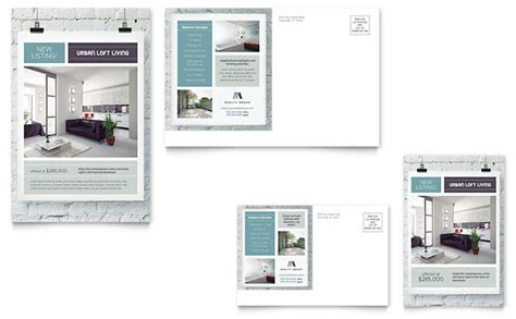 urban loft postcard template design