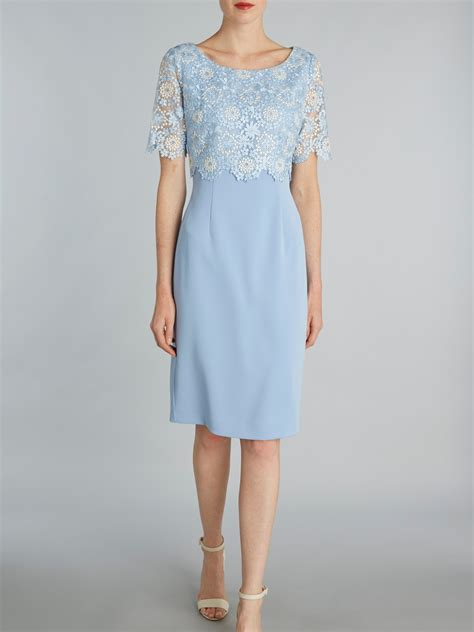 gina bacconi crepe dress  attached organza overtop blue