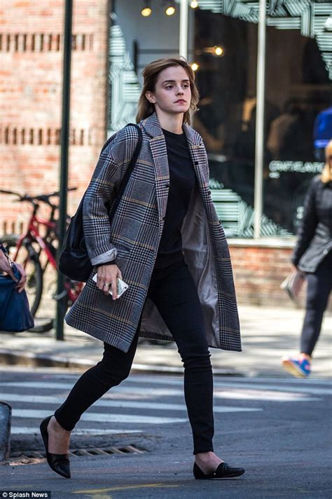 Emma Watson Nails Off Duty Chic Structured Checkered