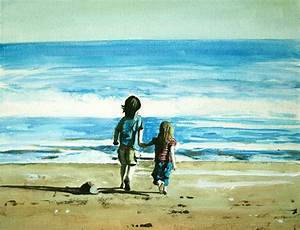 Children On Beach 5 Painting by Paul Mitchell