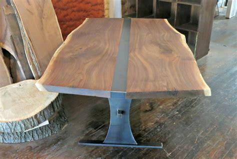 Hand Made Book Matched Walnut And Steel Dining Table by