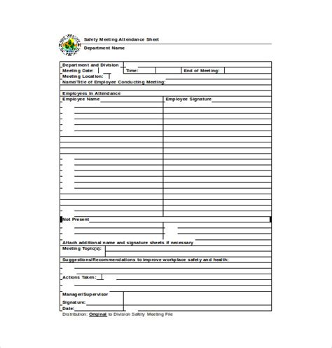 Training Records Meeting Template Download by 14 Attendance Sheet Templates Pdf Doc Excel Free