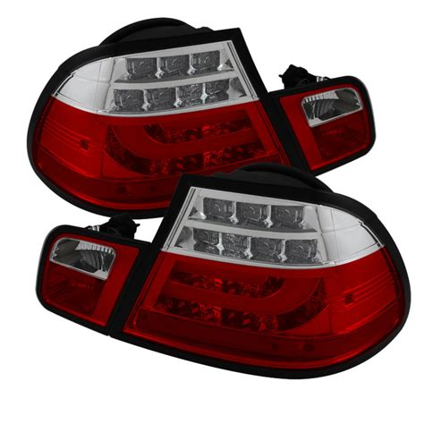 2006 bmw 330i tail spyder red clear lightbar style led tail lights for 2004