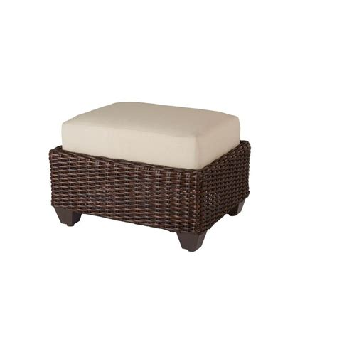 mill valley fully woven patio ottoman parchment cushion - Patio Ottomans