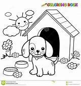 Dog Coloring Outside Outline Doghouse Standing sketch template