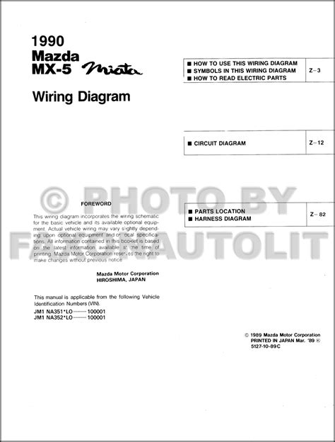 1990 mazda mx 5 miata wiring diagram manual original