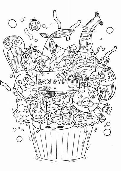 Doodle Coloring Pages Children Doodling Cupcake Dessert