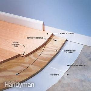 Installing wood flooring over concrete the family handyman for How to put hardwood floor on concrete