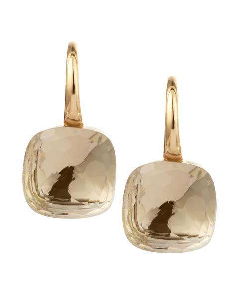 pomellato earrings lyst pomellato nudo 18k gold colorless topaz earrings in