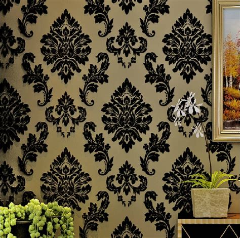 thick velvet flocked wallpaper european  woven