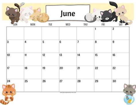 cute cats  calendar printable planner
