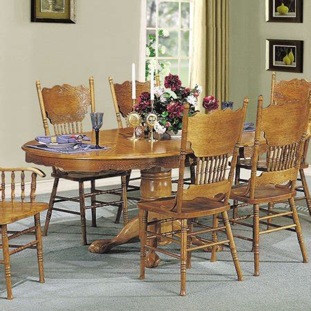 acme furniture nostalgia casual pedestal acme nostalgia dining table with pedestal oak walmart