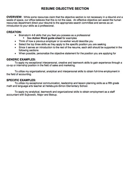 resume objective section sle resumes design