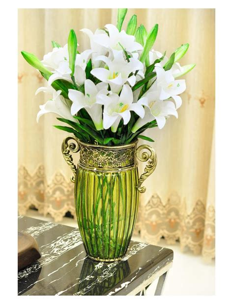 large living room lucky bamboo lily flower arrangement
