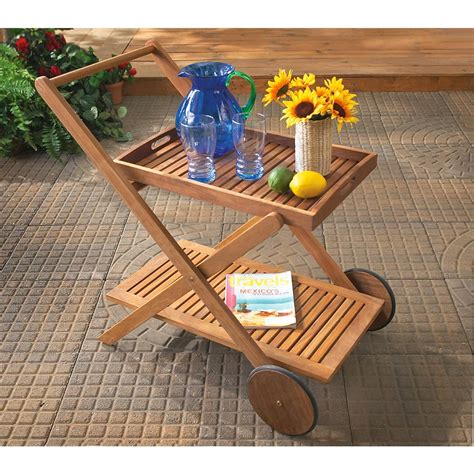 teak folding serving cart 138451 patio furniture