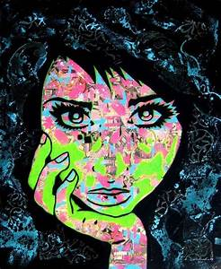 ic Collage Women PaperMonster Pop Art Stencil Portraits Are Full of Feminine Mixed Media