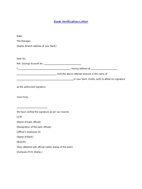 bank verification letter savings account