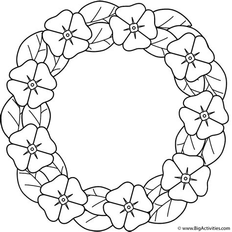 poppy wreath coloring page remembrance day