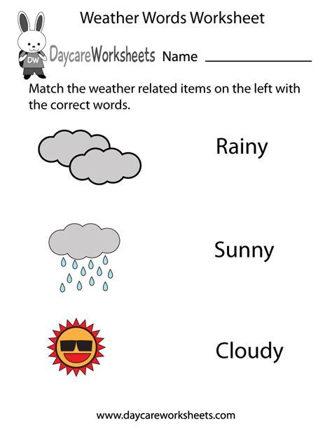 free preschool weather words worksheet 946 | weather words worksheet printable