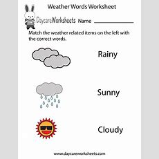 Free Preschool Weather Words Worksheet