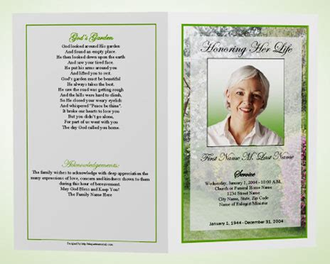 Funeral Handouts Template by Powerpointtemplate Presentations