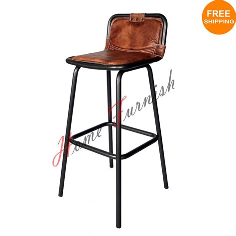 Resturant Bar Stools Vintage Style Industrial Bar Counter Stool Leather Seat