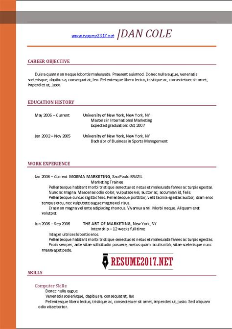 Most Recent Resume Format 2016 by Chronological Resume Format 2017