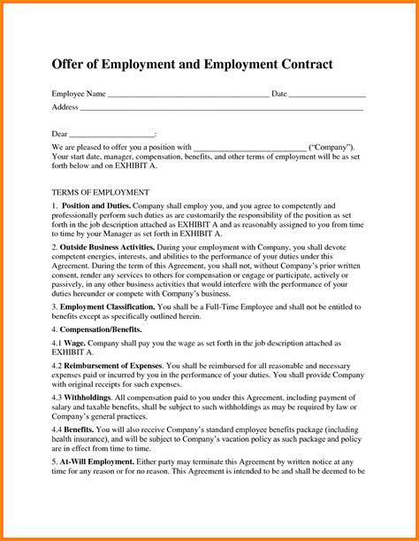 employee contract template card authorization