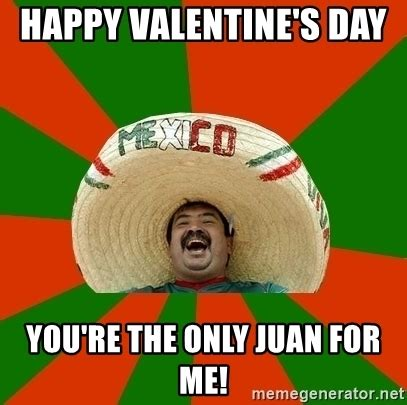 Me On Valentines Day Meme - happy valentine s day you re the only juan for me successful mexican meme generator