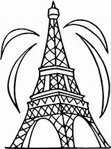 Eiffel Tower Coloring Pages Fireworks Colouring Outline Pisa Drawing Clipart Leaning Paris France Clip Eifel Printable Cliparts Simple Kitty Hello sketch template