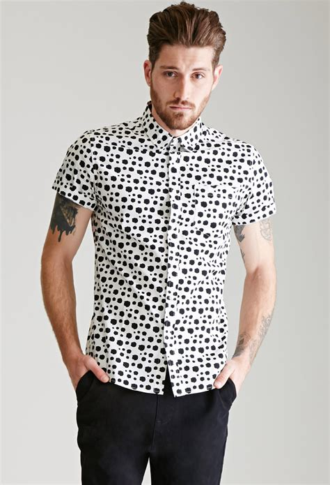 sleeve dotted shirt forever 21 dalmatian dotted shirt in white for lyst