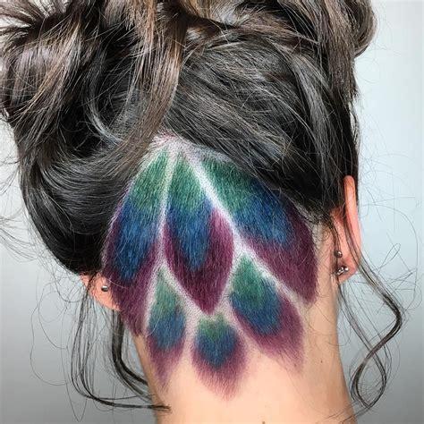 peacock undercut hair color  tangerine salon aveda