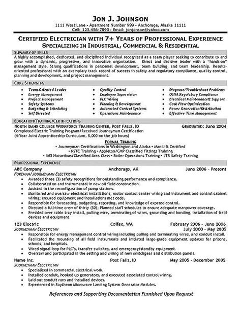 Electrician Resume Templates by Electrician Foreman Resume Exles Sle Resume